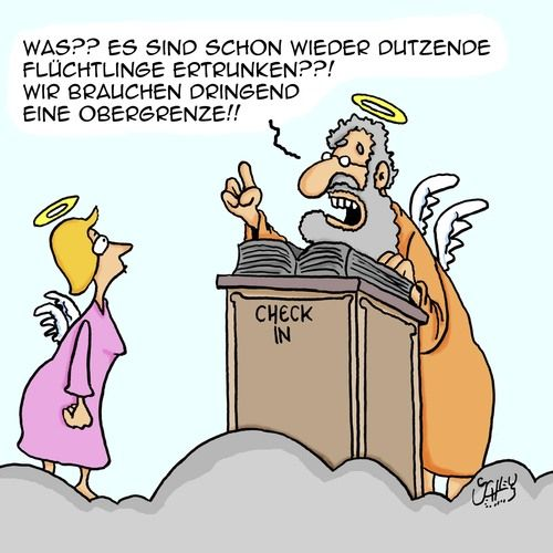 Cartoon: Obergrenze (medium) by Karsten tagged religion,politik,krieg,flüchtlinge,europe,taod,flüchtlingskrise,religion,politik,krieg,flüchtlinge,europe,taod,flüchtlingskrise
