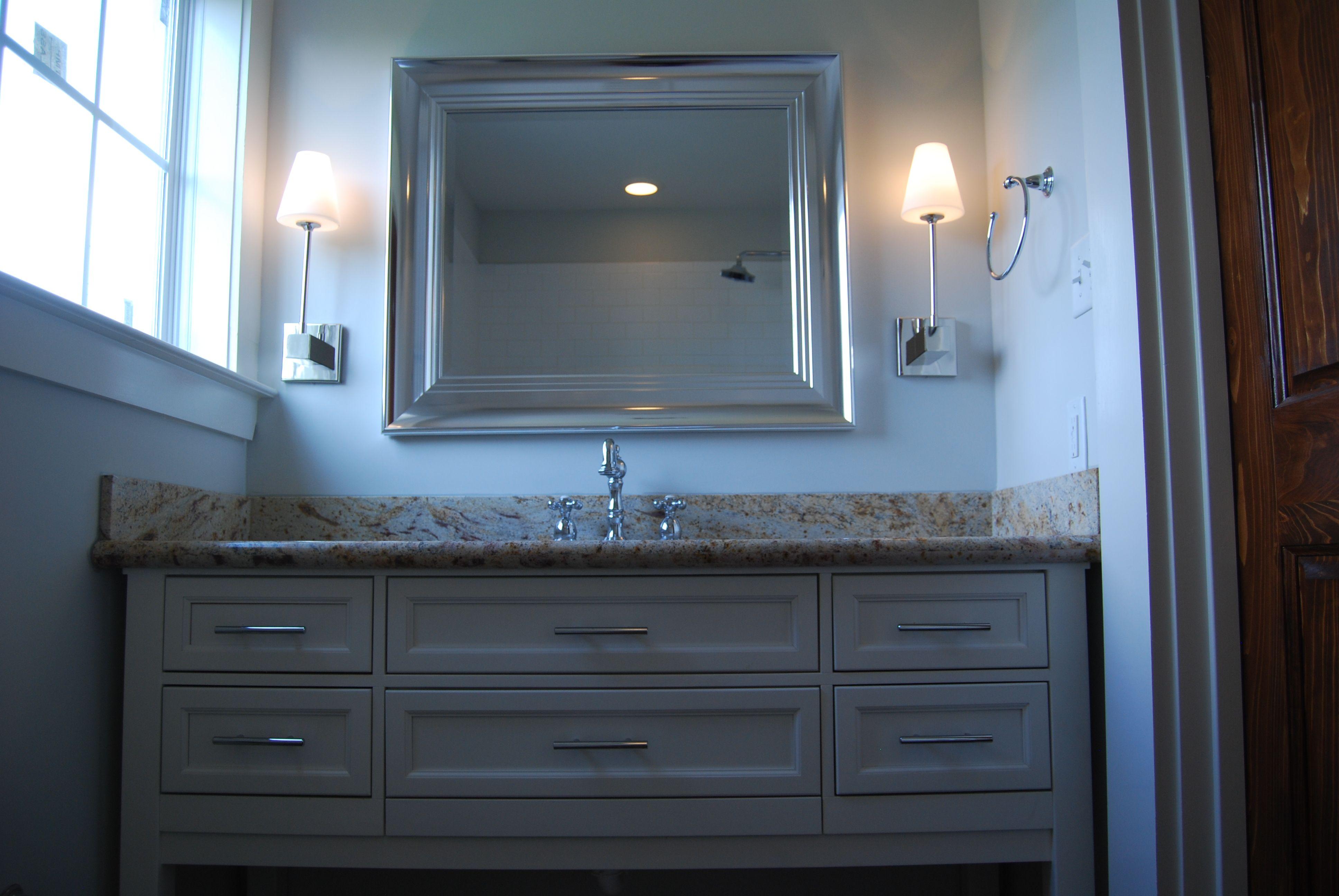 Guest Bath - Custom designed and built vanity, granite countertop ...
