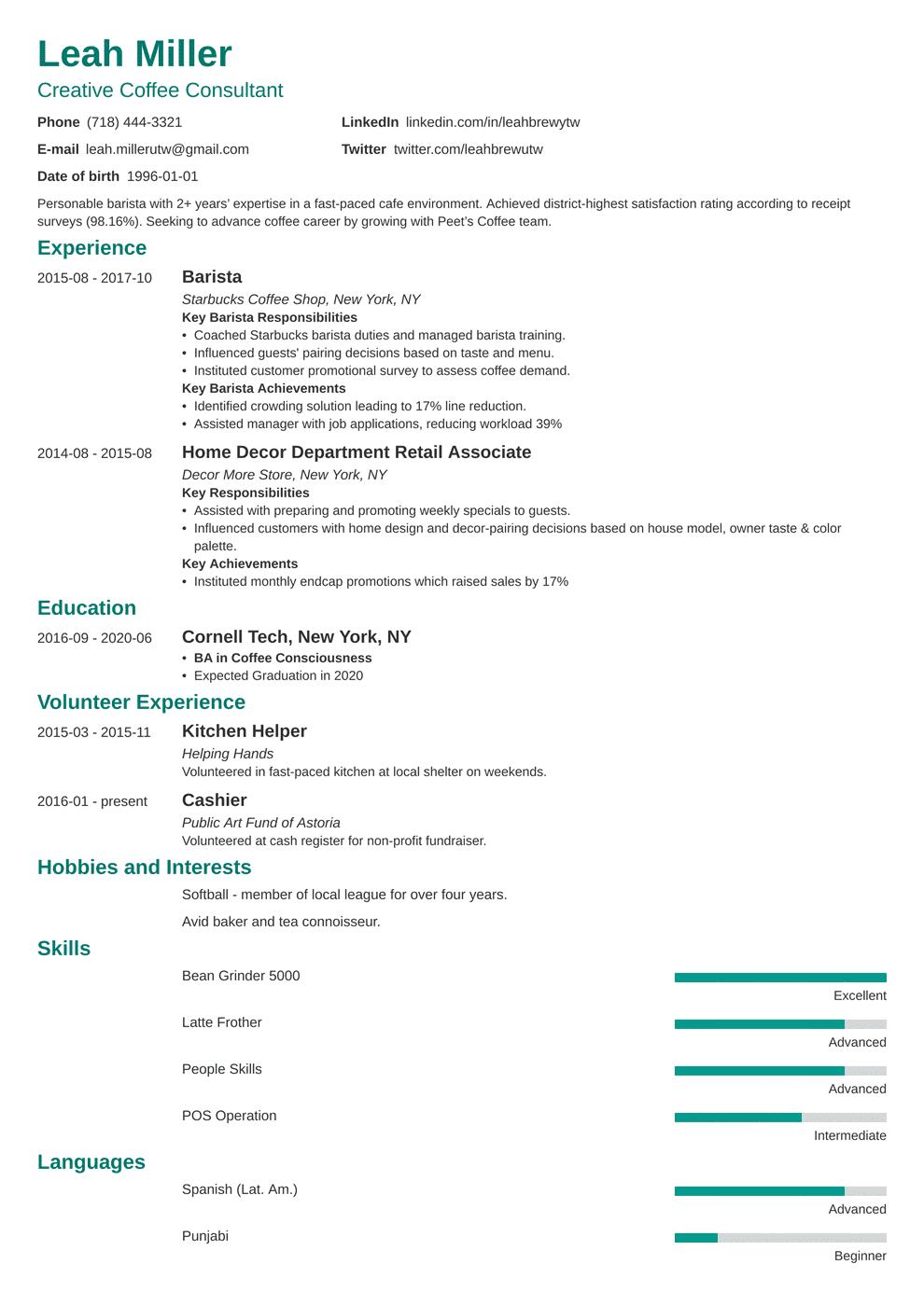 barista resume template minimo in 2020 Job resume