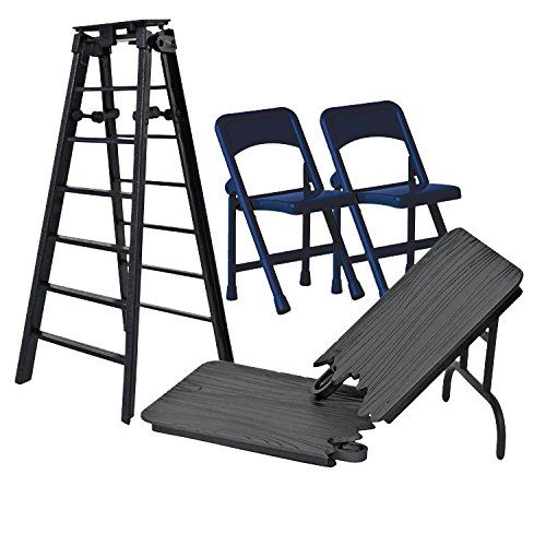 steel chair in wwe twin sleeper with ottoman ultimate ladder table chairs black playset for wrestling action figures