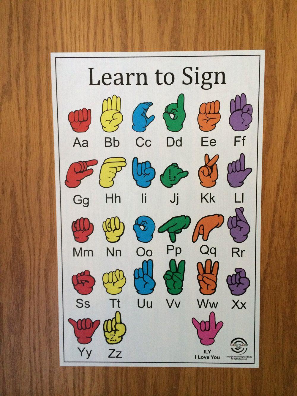 American Sign Language Chart - Peel & Stick Restickable