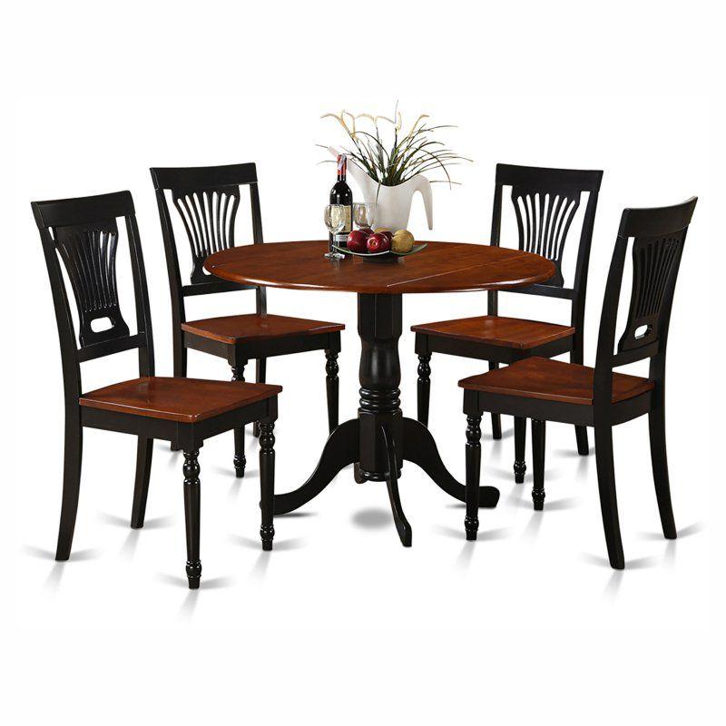 East West Furniture Dublin 5 Piece Drop Leaf Dining Table ...