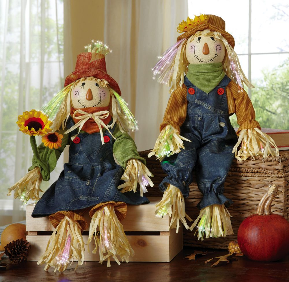 mr and mrs scarecrow fall sitters harvest decorations http - Harvest Decorations