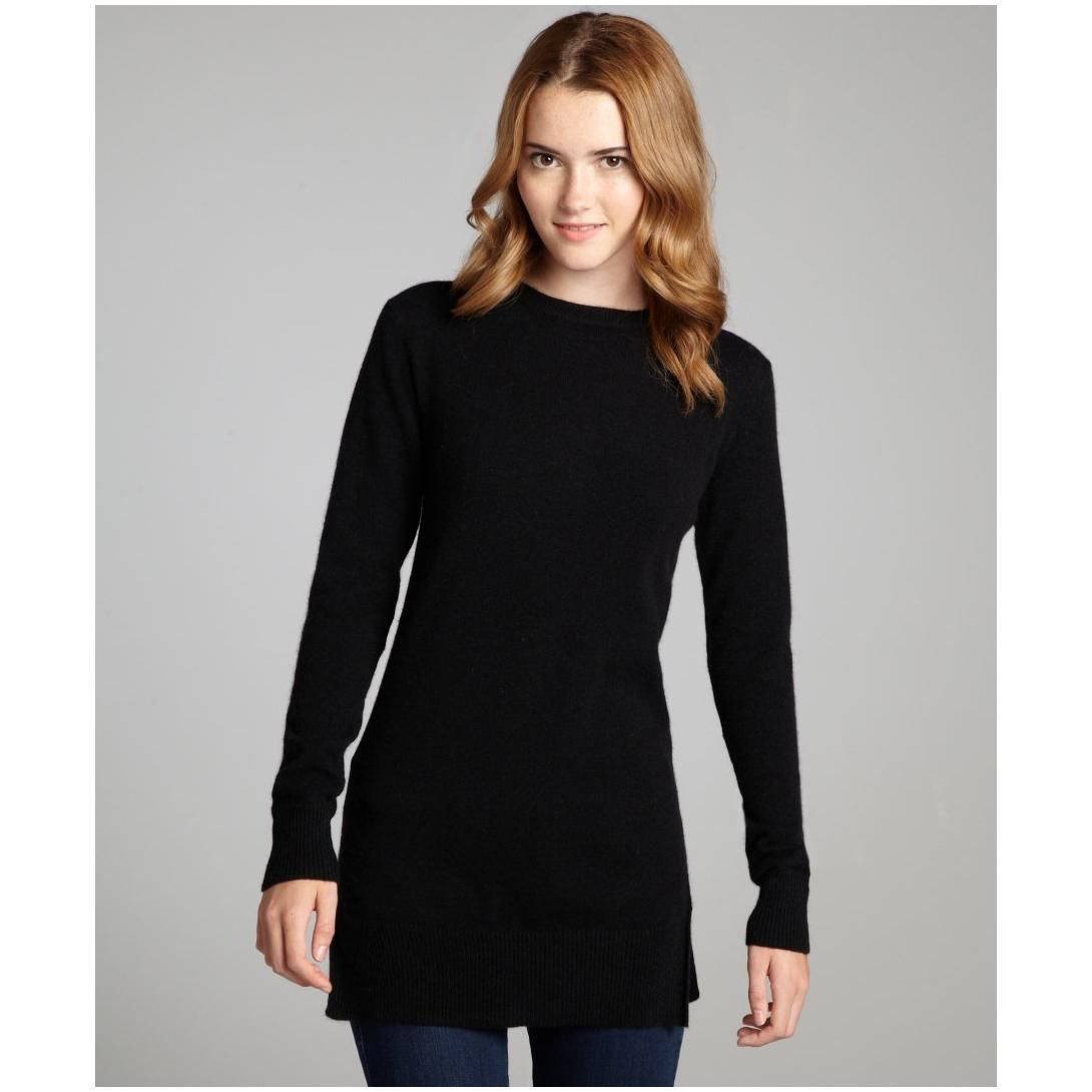 Hayden women's black back zip long sleeved cashmere tunic sweater ...