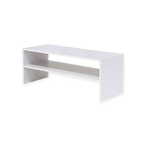 Stackable 24 Inch Horizontal 2 Shelf Organizer In White Bed Bath And Beyond Canada Stackable Shelves Shelf Organization Shelves