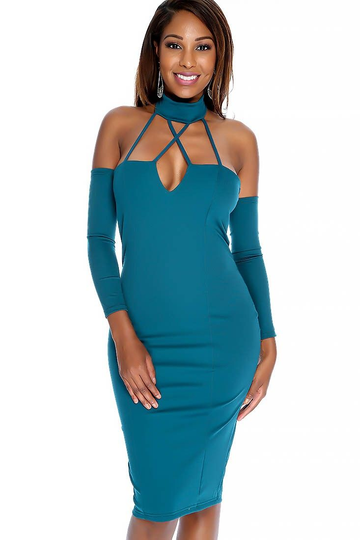Sexy Teal Bold V-cut Mock Neck Cross Straps Separate Sleeves Body ...