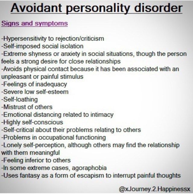 Avoidant personality disorder dating