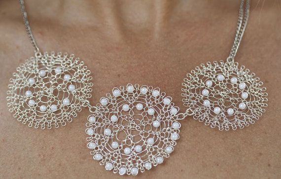 2cd1d5b5b39 Pearl Necklace Dainty necklace Wedding jewelry Wire crochet Necklace ...