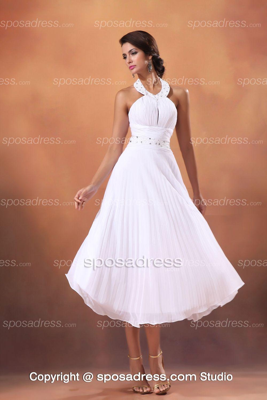 Top Halter Simple A Line Sequined Chiffon Summer Beach Wedding Dress
