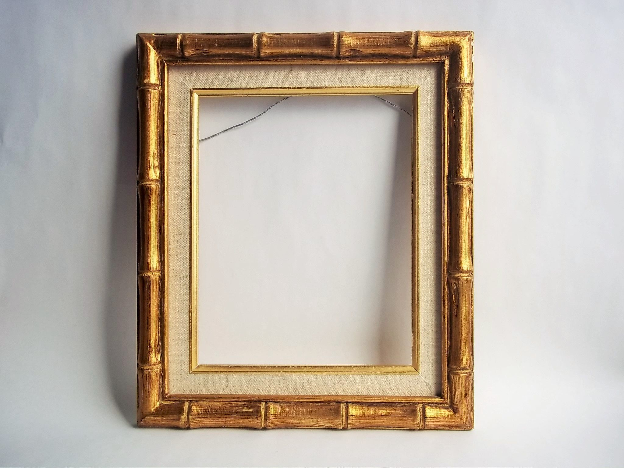 Gold Bamboo Linen Matted Frame Fits 8 X10 Total Size 12 X14 Vintage Frame Wired And Ready To Hang By Throwitfo Gold Picture Frames Frame Vintage Frames