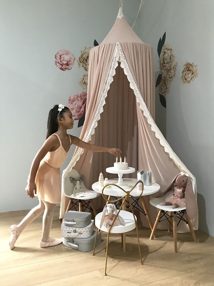 Princess Tea Party with Lace Trim Canopy