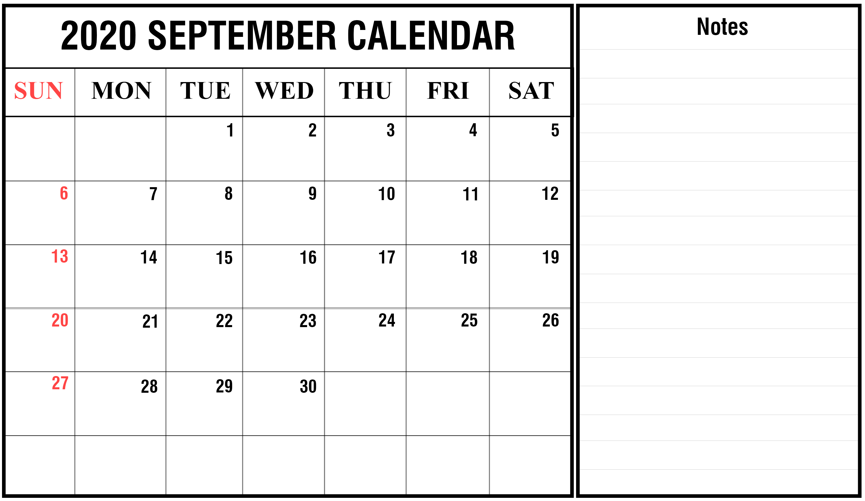 Editable September 2020 Blank Calendar With Notes In 2020 Printable Calendar Template Calendar Printables Calendar Template