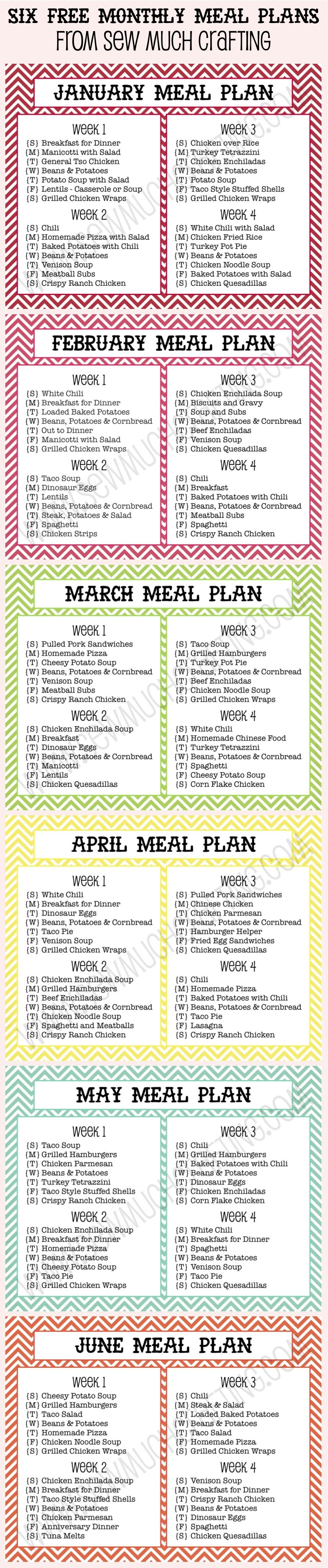 i love to plan out my meals here are 6 free monthly meal plan