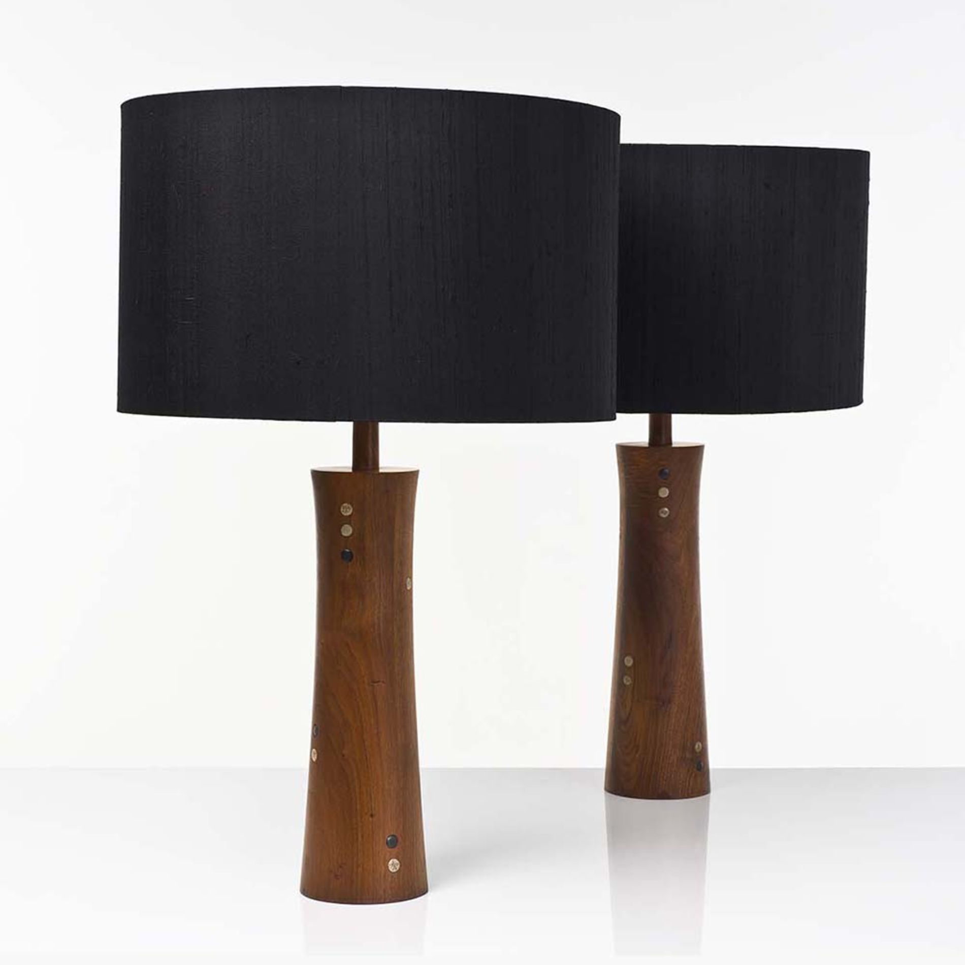 Gordon And Jane Martz; Wood Table Lamps With Ceramic Inlay For Marshall  Studio, 1950s