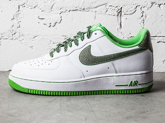 As part of the NSW spring 2014 collection, the Air Force 1 Low will release  in this green apple soled colorway. The kicks are otherwise white leather  built