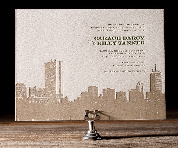 Trending tuesday boston themed wedding invitations letterpresses bella figura has lovely letterpress invitations and this boston skyline is no exception love filmwisefo