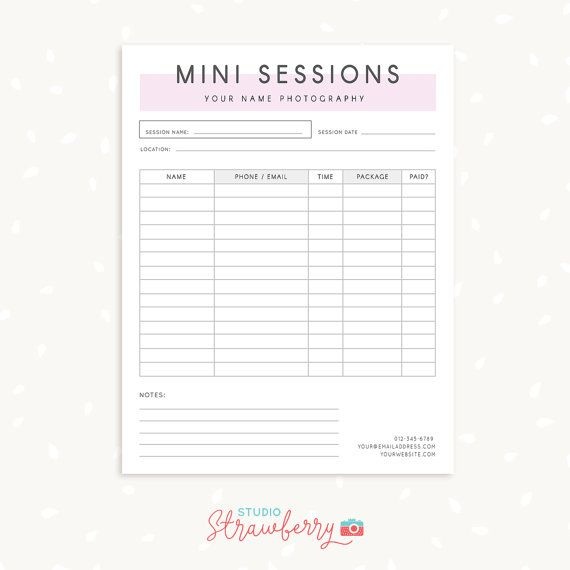 Mini Session Sign Up Form Photography Forms Photography Contract