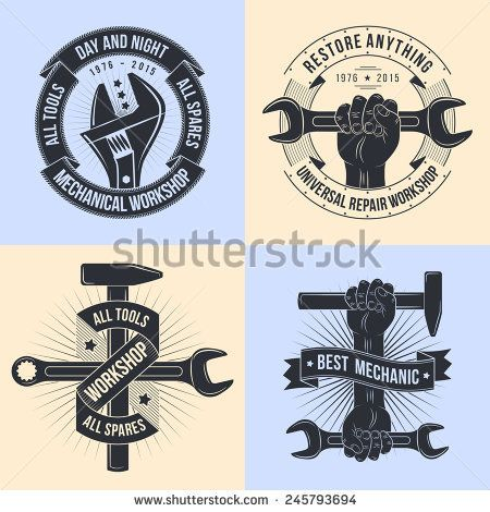 Logo For Repair Workshop In Old School Style Vintage Mechanics Emblem Working Tools Open End Adjustable Wrench Hand With With Images Mechanic Logo Design Hammer Logo