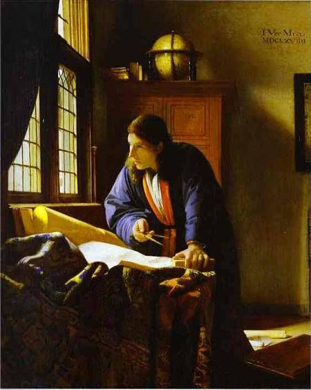 The Geographer 1668-1669 by Johannes Vermeer used the same model and other elements as The Astronomer.