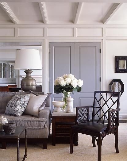 Living room - grey doors #poeinteriors