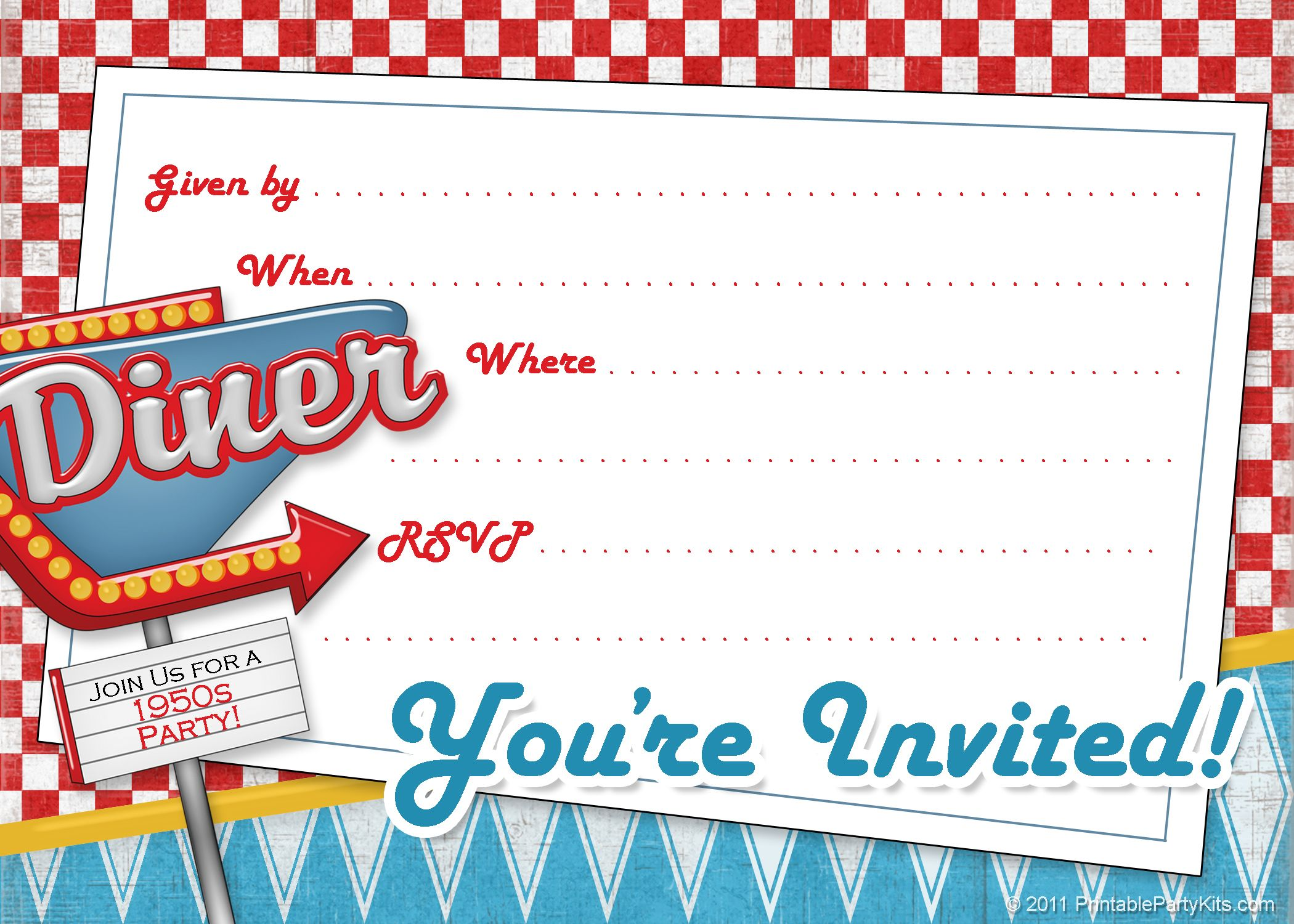 printable 1950s diner invite template 50 s theme printable 1950s diner invite template