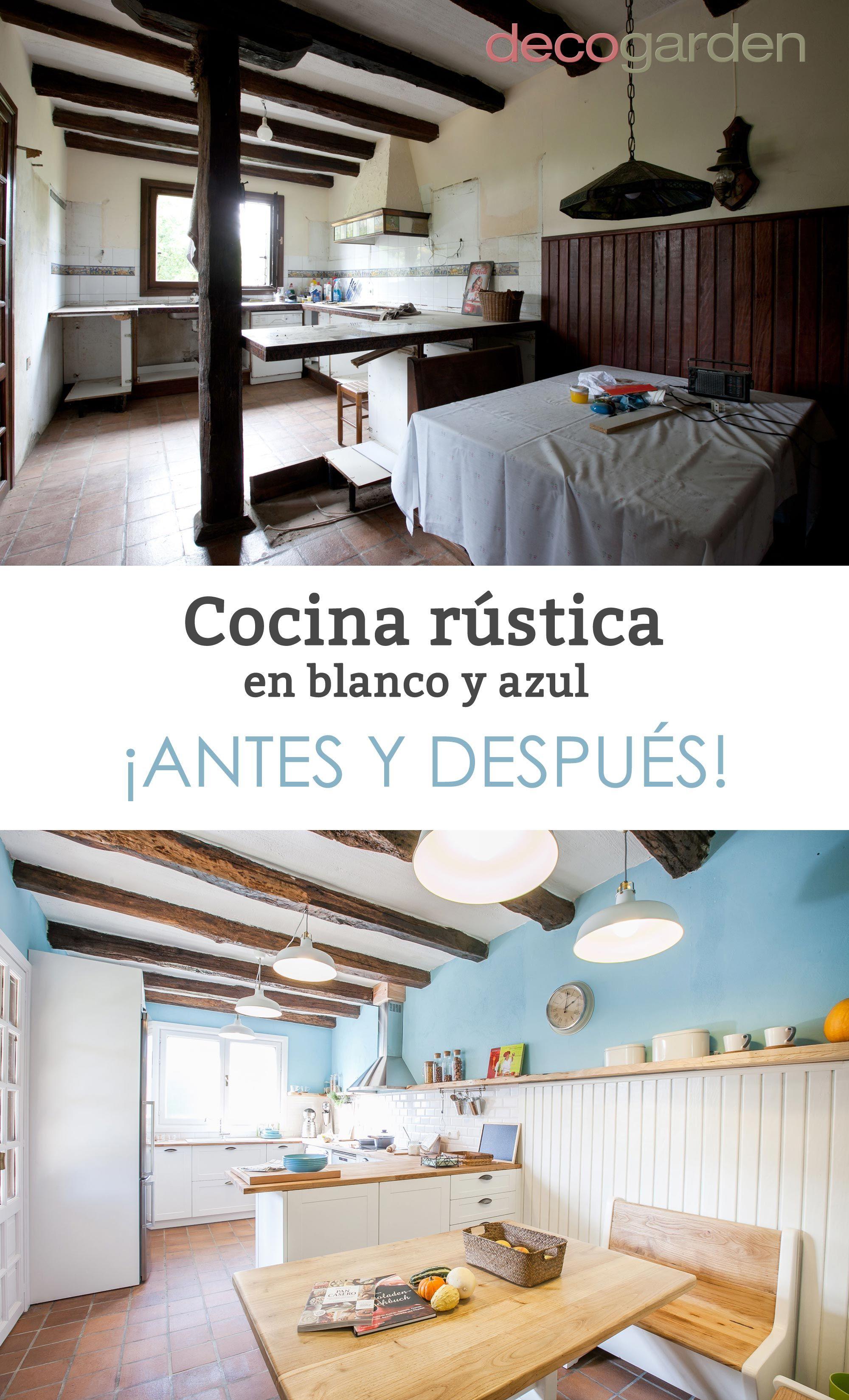 Cocina rústica en blanco y azul   Cocinas rústicas, Rusticas y Rústico