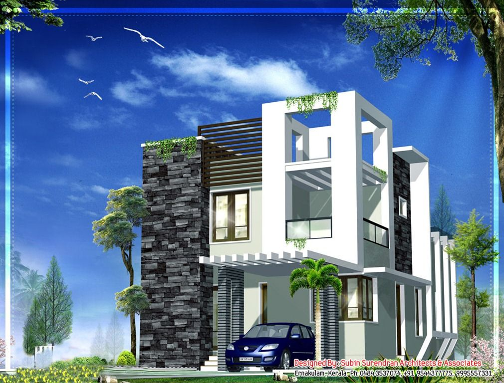 Small House Front Elevation Photos : Small modern homes trans kerala house design