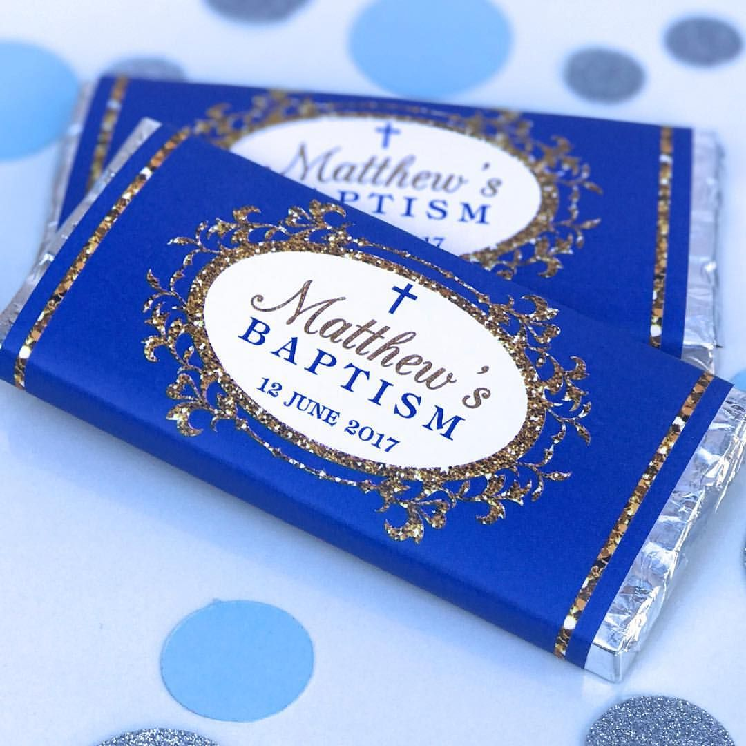 Personalised Navy Baptism Chocolate Wrappers Favours