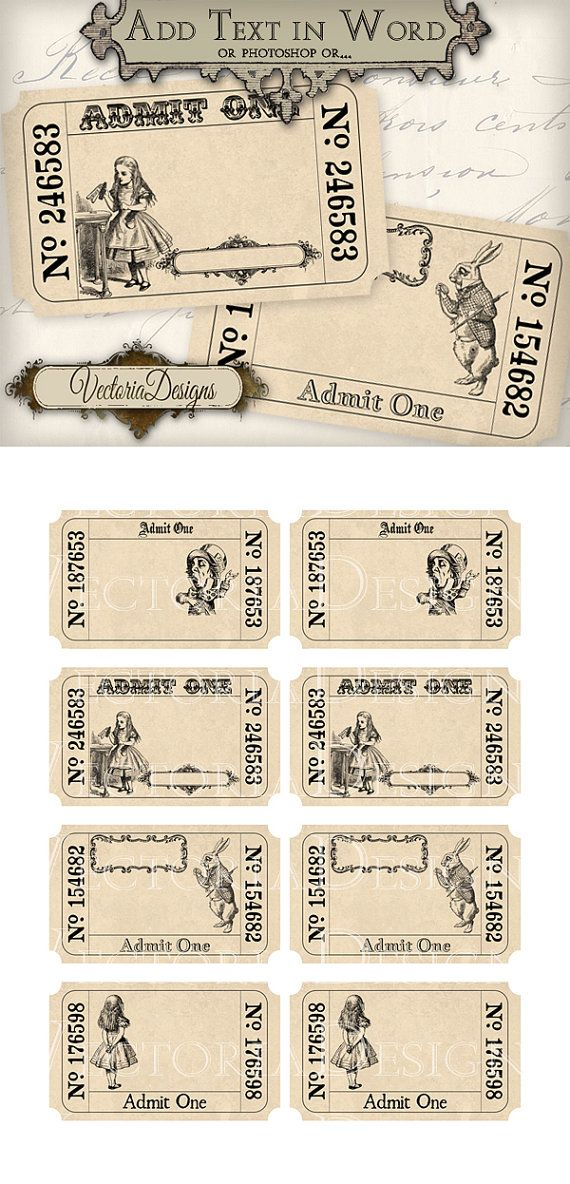 Alice in wonderland editable invitation tickets printable images alice in wonderland editable invitation tickets printable images instant download digital collage sheet vd0404 pronofoot35fo Images