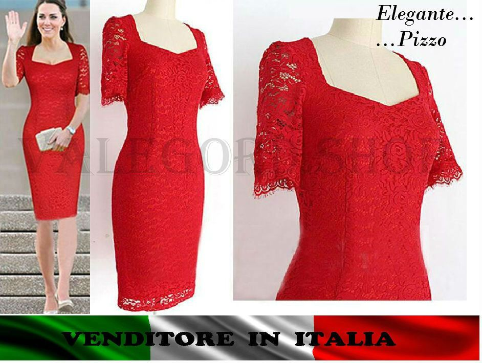newest a9e07 dfc34 Vestito pizzo ROSSO tubino ELEGANTE abito cerimonia sera ...