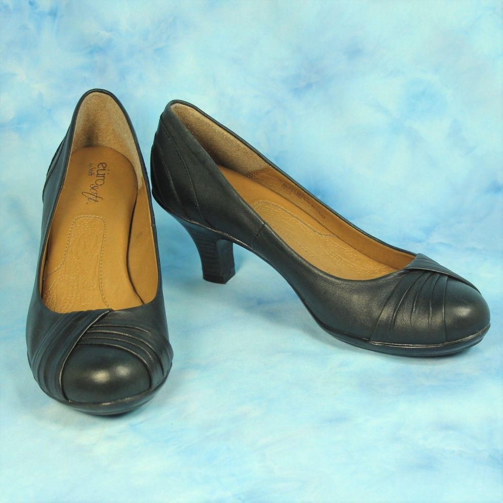 a3b098fda4f Sofft Womens 7.5 M Vannah Black Leather Pumps Comfort Heels Shoes Womens 7  1 2  Sfft  PumpsComfort