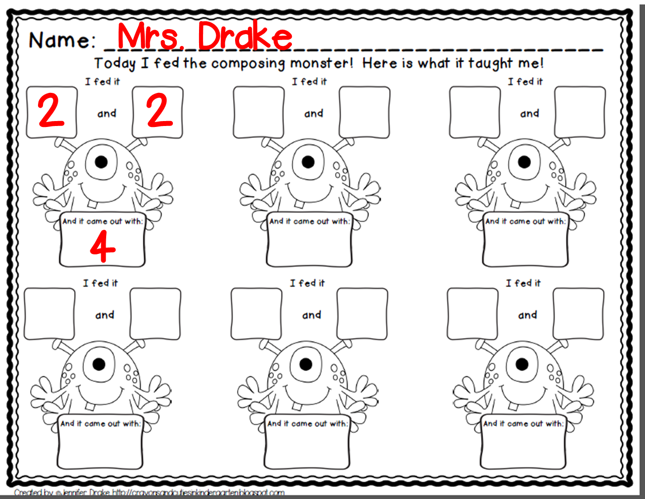 Composing Numbers Why Not Another Monster Numbers Kindergarten Composing Numbers Kindergarten Number Worksheets Kindergarten [ 1010 x 1306 Pixel ]