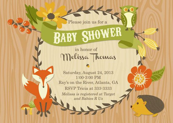 Hey i found this really awesome etsy listing at httpetsy fall woodland animals with floral frame baby shower invitation printable filmwisefo Images