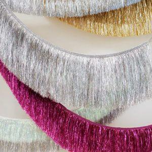 Iridescent silver tassel garland