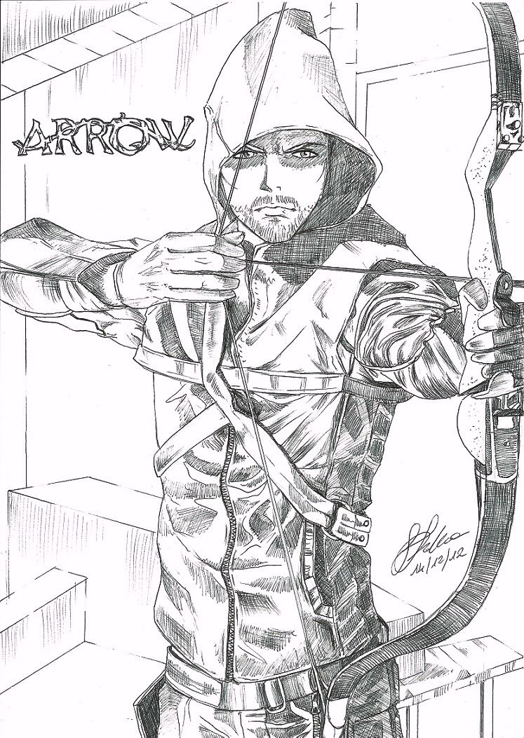 Green Arrow Pencil Drawings Coloring Pages Pencil Drawings Green Arrow