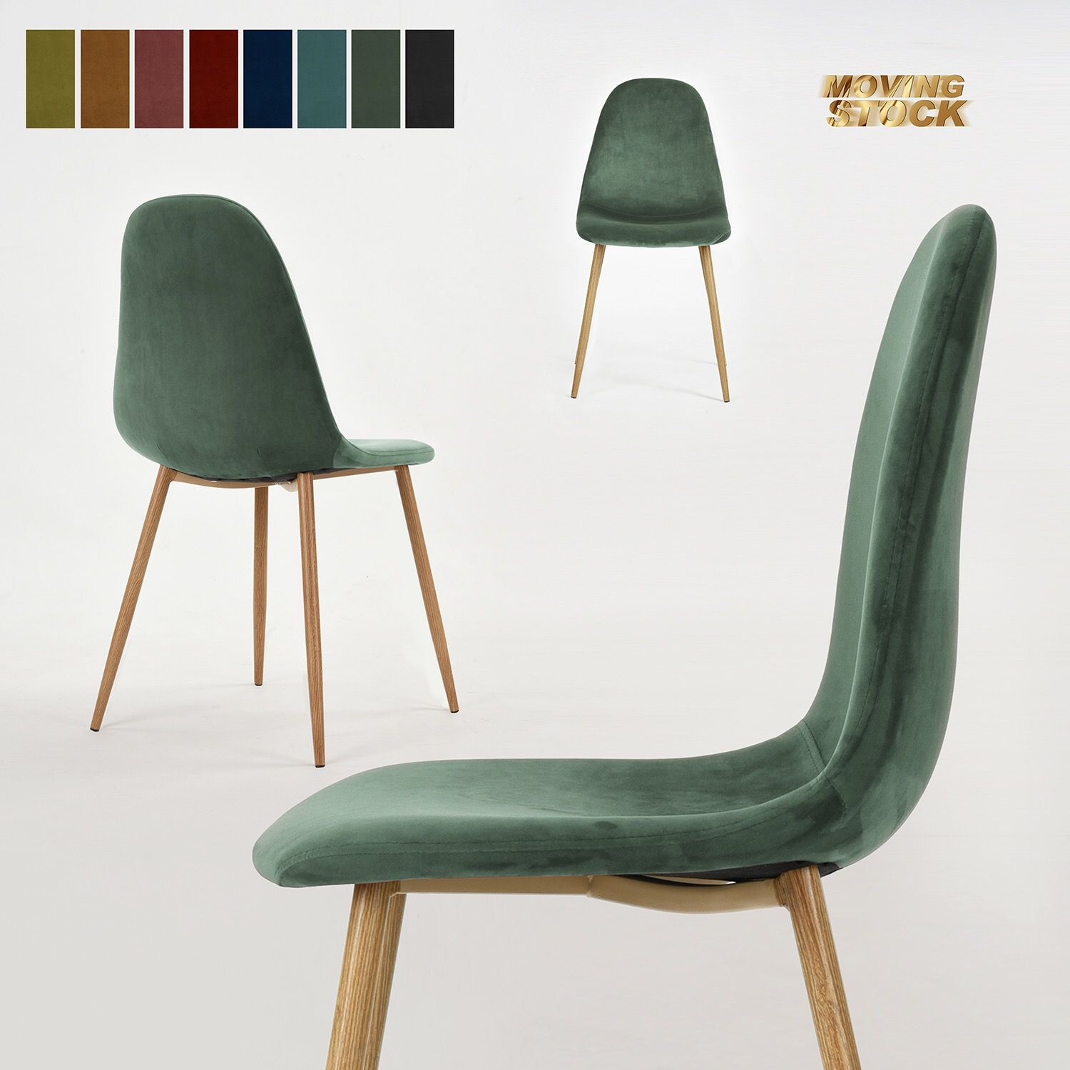 Eames style dining chair,velvet seat,metal leg with