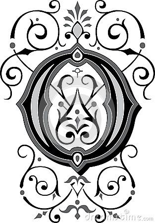 Beautiful Ornament Letter O Ornate English Alphabets Grayscale 38519168 313x450