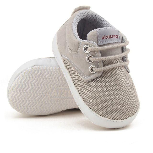 wholesale dealer a270a 7f434 Bebê recém-nascido Menino Sapatos Primeiro Walkers Primavera Outono Bebê  Menino Sola Macia Sapatas de Lona Infantil Crib Shoes 0-18 meses