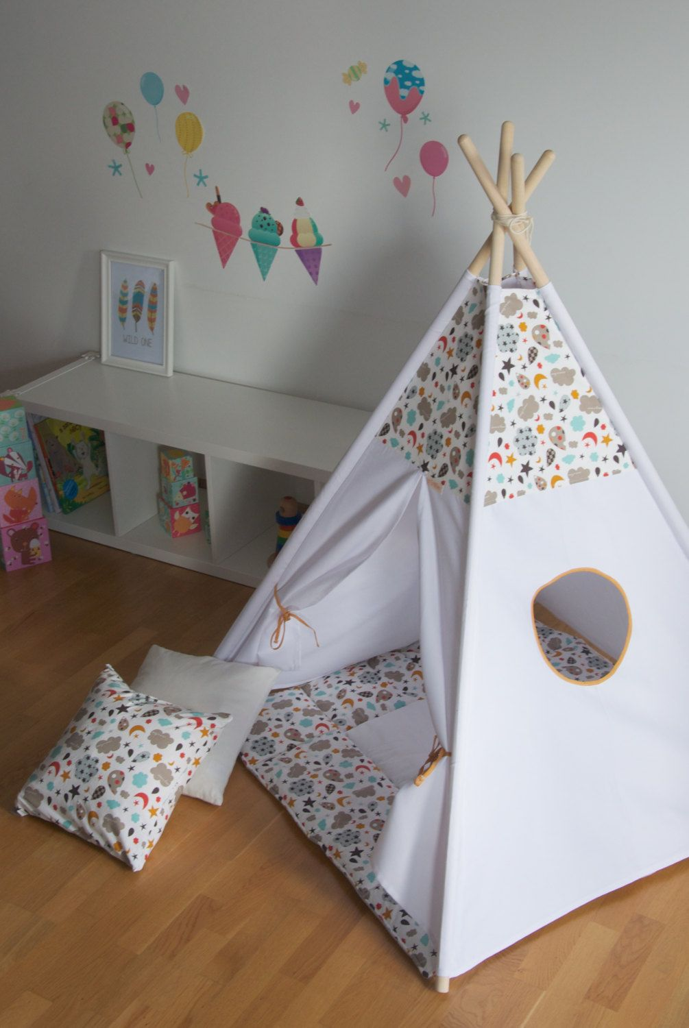Clouds and stars kids teepee play tent wigwam with a padded floor mat POLES INCLUDED by & Clouds and stars kids teepee play tent wigwam with a padded floor ...