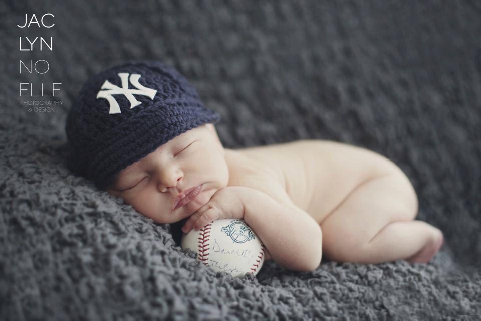 Yankees baby hat cap new york yankees baby gift newborn baseball photo prop mlb knitted crochet
