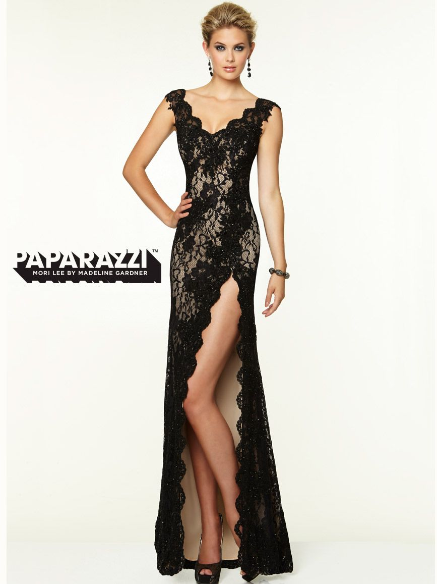 Vneck lace with high slit paparazzi prom dress by mori lee
