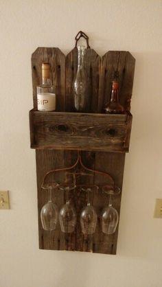 Barn Wood Rake Wine Rack