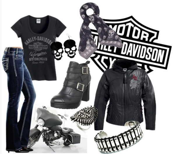 Harley Davidson Polyvore Set I D So Wear This If I Had A Guy To Ride With Harley Apparel Biker Outfit Biker Chic