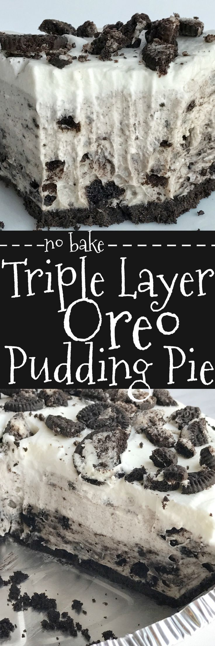 Triple layer Oreo pudding pie is a no bake dessert that is so simple to make and so yummy. All you need are 5 ingredients! It's the perfect summer pie because there is no oven needed and it's so light tasting. layer Oreo pudding pie is a no bake dessert that is so simple to make and so yummy. All you need are 5 ingredients! It's the perfect summer pie because there is no oven needed and it's so light tasting.