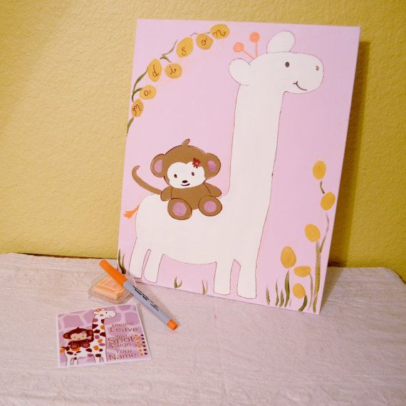 Giraffe+and+Monkey+Baby+Shower+Guestbook+Keepsake+by+GiftsbyGaby,+$38.00   Personalized in boy colors though <3