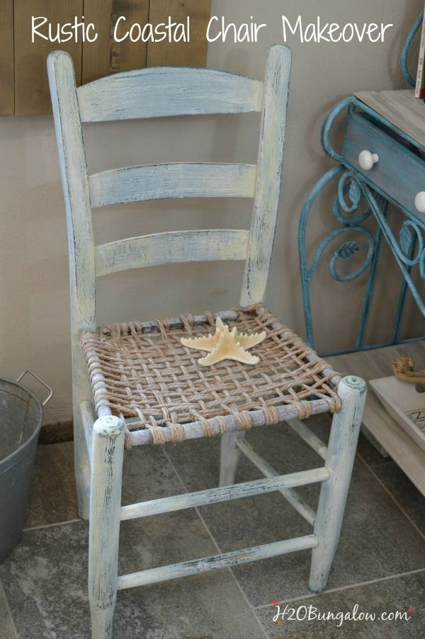 Rustic coastal vintage chair makeover with layered and distressed paint adds character and style to this lovely chair by H2OBungalow #themedfurnitureday