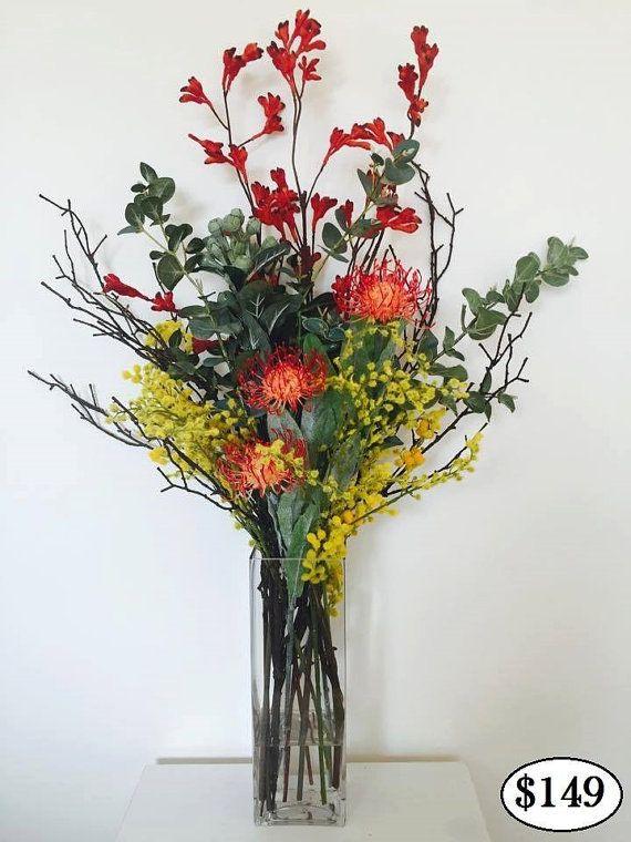 Real Touch Australian Native Flower Arrangement In Artificial Water