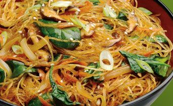 Cellophane noodles with spinach carrots and shiitake korean food cellophane noodles with forumfinder Images