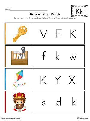 Picture Letter Match: Letter K Worksheet (Color) | Aphabet | Picture ...