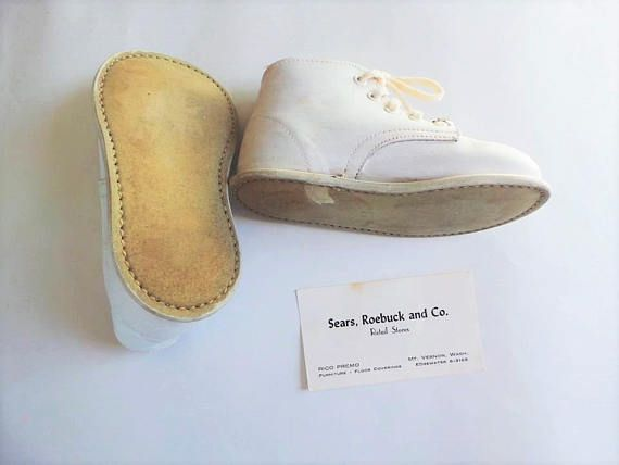 67f6b4cf4e37d Vintage Baby Shoes - White Leather Shoes 1950s - Sears Roebuck and ...